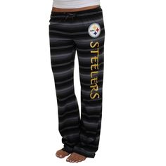 Pittsburgh Steelers Ladies Nuance Striped Knit Pant - Black