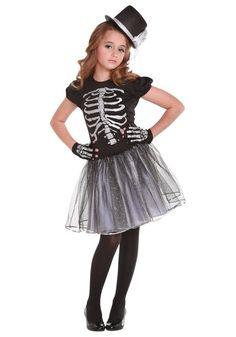 Halloween Costume Girl - Skeleton Dress, Gloves and Top Hat