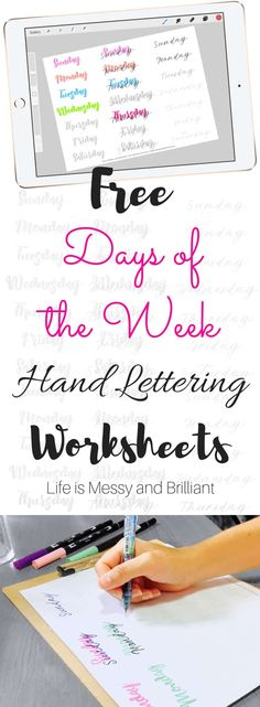 Practice your hand lettering skills with these Days of the Week hand lettering practice worksheets. The goal is to use two different font styles and mix them together to create beautiful weekly titles. Brush Lettering Worksheet, Hand Lettering Practice, Lettering Art, Typography, Bullet Journal Font, Bullet Journal Printables, Bullet Journals, Bujo, Different Font Styles