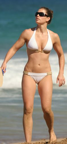 "Jessica Biel. Well, I am obsessed with her so its only fitting that I pin a bikini picture of her on my ""fitness"" board lol but seriously sister girl looks like she takes good care of herself and does NOT starve herself in the process."