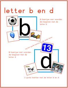 Lijn 3, letter b en d kaartjes te gebruiken bij Thema 5 - Digibord Onderbouw