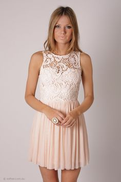 tea party lace bodice cocktail dress - cream/baby pink