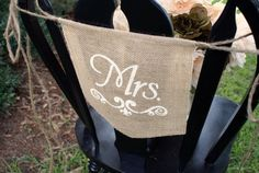 MRS Small burlap chair banner for wedding with by HerBeautifulLife, $12.99