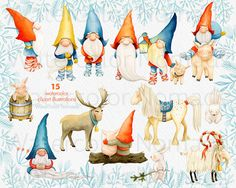 Digital watercolor clipart for personal or small commercial use Yuletide Vol.1 - Tomtes & Friends - clipart illustrations Tomte or Nisse is a nordic house spirit that protects the farm and the stock. It also brings the Yule presents with the Yule Goat. The sledge is full and the magic is everywhere! ------------------------------------ Heres what you get in this set: - 25 High resolution 300 dpi high quality transparent background png elements: - 8 Tomte illustrations (transparent b...