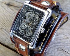 Men's Watch Cuff Steampunk Leather Watch Cuff Men's