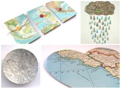 Decoupage maps, my mom would never let me ruin one of her maps so I must get my own