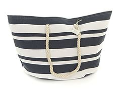 Erin Large Striped Beach Bag (Navy Blue and White) Le Papillon Vert
