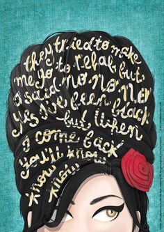 Rehab Amy Winehouse Music Poster, Typography Lyrics, Home Decor Gift, Music Illustration, Pop Art Wa Art And Illustration, Illustrations, Arte Pop, Amy Winehouse Music, Amy Winehouse Quotes, Pop Art, Art Beat, Nour, Cultura Pop