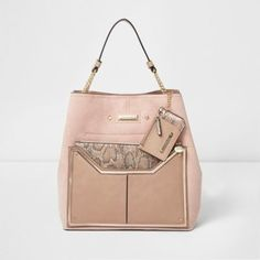 River Island Womens Pink snake skin pouch slouch chain bag