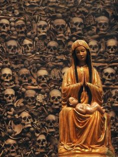 The Skull Cathedral of Otranto, where the bones of 800 martyrs adorn the walls. Puglia, Italy.