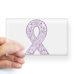 Periwinkle Henna Ribbon Sticker (Rectangle)