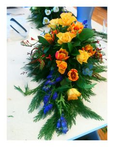 Who says a funeral decoration can't be colorful?