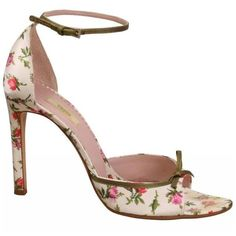 Preowned Prada Ivory Satin With Pink And Red Roses High Heel Sandals (5 590 ZAR) ❤ liked on Polyvore featuring shoes, sandals, white, evening shoes, white satin shoes, pink shoes, evening sandals and heeled sandals