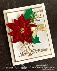 Stamped Christmas Cards, Stampin Up Christmas, Christmas Cards To Make, Christmas Paper, Christmas Greeting Cards, Christmas Greetings, Holiday Cards, Poinsettia Cards, Christmas Poinsettia