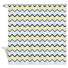 Blue And Yellow Zig Zags Shower Curtain For