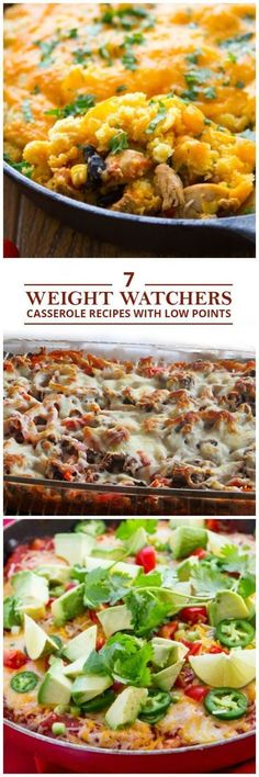 7 Weight Watchers Casserole Recipes with Low Points These healthy casserole recipes bring all the flavor without all the added fat. Here are 7 Weight Watchers Casseroles with Low Points! Weight Watcher Dinners, Plats Weight Watchers, Weight Watchers Diet, Weight Watchers Casserole, No Calorie Foods, Low Calorie Recipes, Healthy Casserole Recipes, Healthy Recipes, Ww Recipes