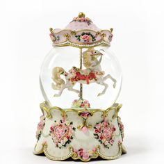 Carousel Horse Musical Hearts and Roses Waterglobe  #46886  Available - Doesn't Rotate