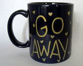 GO AWAY gold hand painted dark blue coffee mug with gold hearts, coffee cup