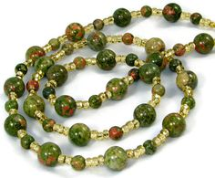 Treat Mom right for Mothers Day - Green and Red Unikite Gemstone Eyeglass, Key, Name Tag or ID Lanyard by nonie615, $26.00