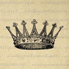 Printable Image Crown Graphic Digital Download Artwork Vintage Clip Art Jpg Png Eps 18x18 HQ 300dpi No.2290 @ vintageretroantique.etsy.com #DigitalArt #Printable #Art #VintageRetroAntique #Digital #Clipart #Download