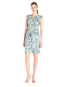 Adrianna Papell Womens Watercolor Floral Printed Sheath BlueMulti 14 -- Check out this great product.(This is an Amazon affiliate link and I receive a commission for the sales)