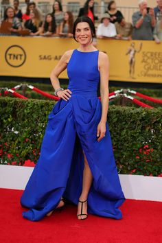 The Boldest Red Carpet Looks From The SAG Awards #refinery29  http://www.refinery29.com/2015/01/81264/sag-awards-2015-red-carpet-pictures#slide-8  We're happy to report that the SAG red carpet was not lacking for colorful sartorial choices. Julianna Margulies' true (Yves Klein) blue, Giambattista Valli dress was definitely one of our favorites. Also, major kudos to her for one-upping Angelina's signature high-slit, and introducing us to the Julianna peekaboo wrap.