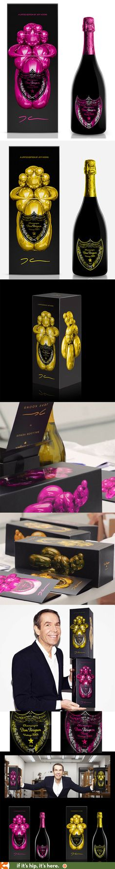 The Jeff Koons X Dom Perignon gift boxes and bottles