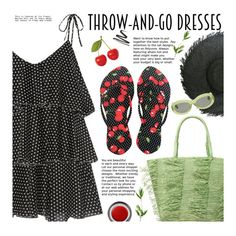 """Easy Outfitting: Throw-and-Go Dresses"" by beebeely-look ❤ liked on Polyvore featuring Sensi Studio, Lisa Marie Fernandez, John Lewis, Dries Van Noten, FlipFlops, strawbags, under50, chosechic and easydresses"