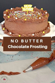 This No Butter Chocolate Frosting is shortening (criso) based easy light tasty and perfect for decorating. It does not require refrigeration and is shelf-safe for days. Chocolate Icing Recipes, Homemade Chocolate, Baking Recipes, Cake Recipes, Dessert Recipes, Desserts, Frosting Without Butter, Chocolate Icing Without Butter, Whipped Cream Buttercream