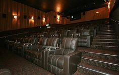 Cinepolis Luxury Cinemas In Del Mar Highlands, La Costa & Laguna Niguel.  Electric reclining leather lounge chairs with full dinner and adult beverage service during the movie!