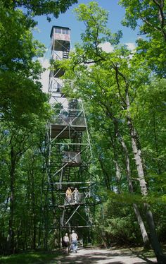 An 87 foot structure built in 1929, giving a 20-mile view of the Clarion River Valley.  Once used to watch for fires, the Fire Tower is now a tourist attraction located in Cook Forest State Park.