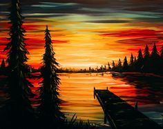 pRaise your glass to a NEW kind of night out! Paint Nite® invites you to create art over cocktails at a local restaurant or bar, guided by a professional artist and party host. Grab your friends 513340057521921992 Lake Painting, Diy Painting, Painting & Drawing, Sunset Acrylic Painting, Road Painting, Diy Canvas Art, Easy Paintings, Ciel, Painting Inspiration