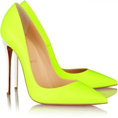 Christian Louboutin So Kate 120 neon leather pumps (895 CAD) ❤ liked on Polyvore featuring shoes, pumps, heels, christian louboutin, sapatos, pointed-toe pumps, slip on shoes, pointed toe high heel pumps, heels & pumps and neon heels pumps