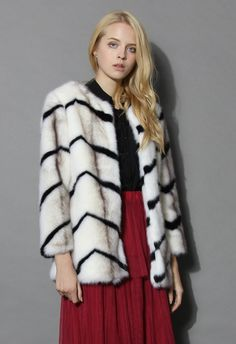Contrast Zig Zag Faux Fur Coat - Long Sleeve - Tops - Retro, Indie and Unique Fashion