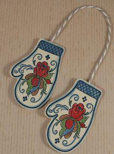 Rosemal Mitten - wood mounted rubber stamp. $6.95, via Etsy.