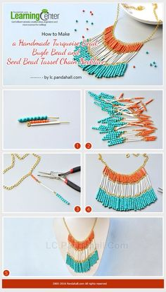 How to Make a Handmade Turquoise Bead, Bugle Bead and Seed Bead Tassel Chain Necklace from LC.Pandahall.com | Jewelry Making Tutorials & Tips 2 | Pinterest by Jersica