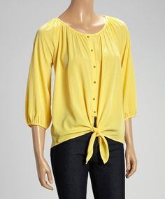 Another great find on #zulily! Lemondrop Tie-Front Button-Up Top - Women #zulilyfinds