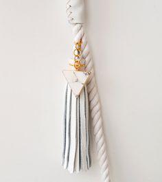 White Gold Rope Dog Leash Italian Leather by theAtlanticOcean