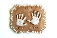Personalized baby gift of sibling handprints in by Dprintsclayful,