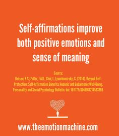 "A new study published in the Personality and Social Psychology Bulletin reveals more evidence on the benefits of practicing self-affirmations.  My free guide ""The Science of Self-Affirmations"" also goes into several other recent studies on the benefits of these exercises on motivation, self-esteem, and relationships:  http://theemotionmachine.com/free-download-the-science-of-self-affirmations-pdf"