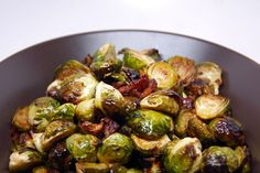 brussels sprouts, bacon and olive oil - roast at 400 degrees for 30-35 minutes and drizzle with balsamic