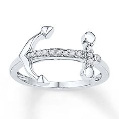 Anchor Ring 1/10 ct tw Diamonds Sterling Silver