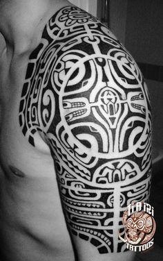 Polynesian Shoulder & Chest Tattoos - Ti'a'iri Polynesian Tattoo #marquesantattoosshoulder