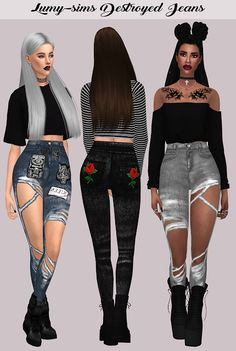 Sims 4 CC's - The Best: Destroyed Jeans by LumySims