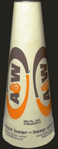 A&W Megaphone was filled with a quart of Root Beer & then you had a megaphone to play with! I remember these from when I was a youngster. Can't remember what year they came out. Retro Recipes, Vintage Recipes, A&w Restaurants, A&w Root Beer, Old Wagons, Vintage Restaurant, Fast Food Chains, Thanks For The Memories, Personal History