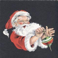 Vintage Hallmark Christmas Card Santa Claus with A Top | eBay