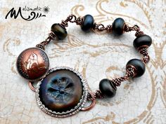 Melismatic Art Jewelry: Finished Farthing in an Oil Slick Bracelet - COM Update