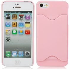 Card Holder Case for iPhone 5 - Pink Smile Face e2e717f0ba5c
