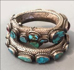 Bedouin silver bracelets with turquoise, garnet and glass, Saudi Arabia inventory for sale info@singkiang.com