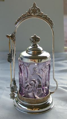 Silverplate Pickle Castor Amethyst Glass with Tongs